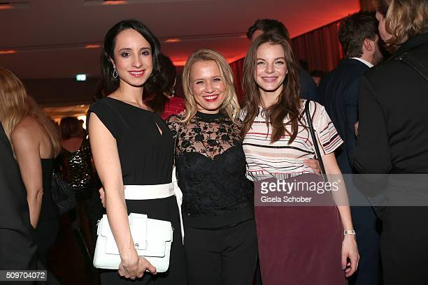Stephanie Stumph Nova Meierhenrich and Yvonne Catterfeld during the 'Berlin Opening Night of GALA UFA Fiction' at Das Stue Hotel on February 11 2016...