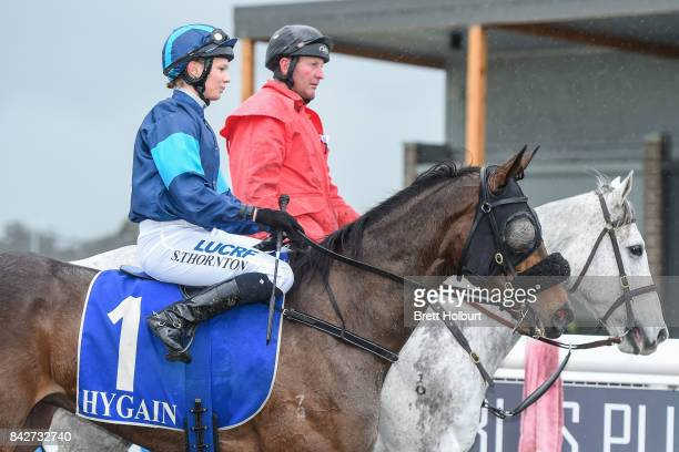 Stephanie Thornton returns to the mounting yard on Lady Skills after winning XXXX Gold FM BM64 Handicap at Racingcom Park Synthetic Racecourse on...
