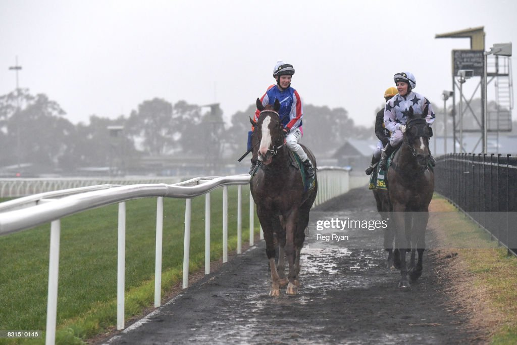 Stephanie Thornton returns to the mounting yard on Written Attraction after winning the Rosemont Stud BM58 Handicap, at Geelong Synthetic Racecourse on August 15, 2017 in Geelong, Australia.