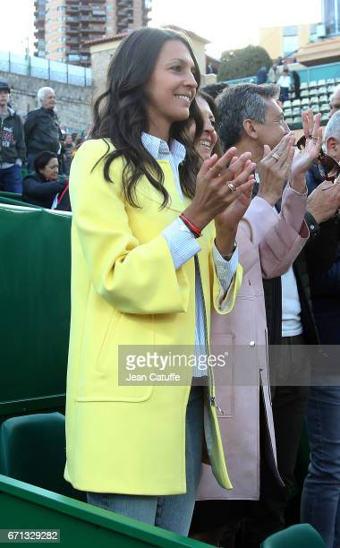 Stephanie Tuccitto celebrates the victory of David Goffin of Belgium following his quarter final on day 6 of the MonteCarlo Rolex Masters an ATP Tour...