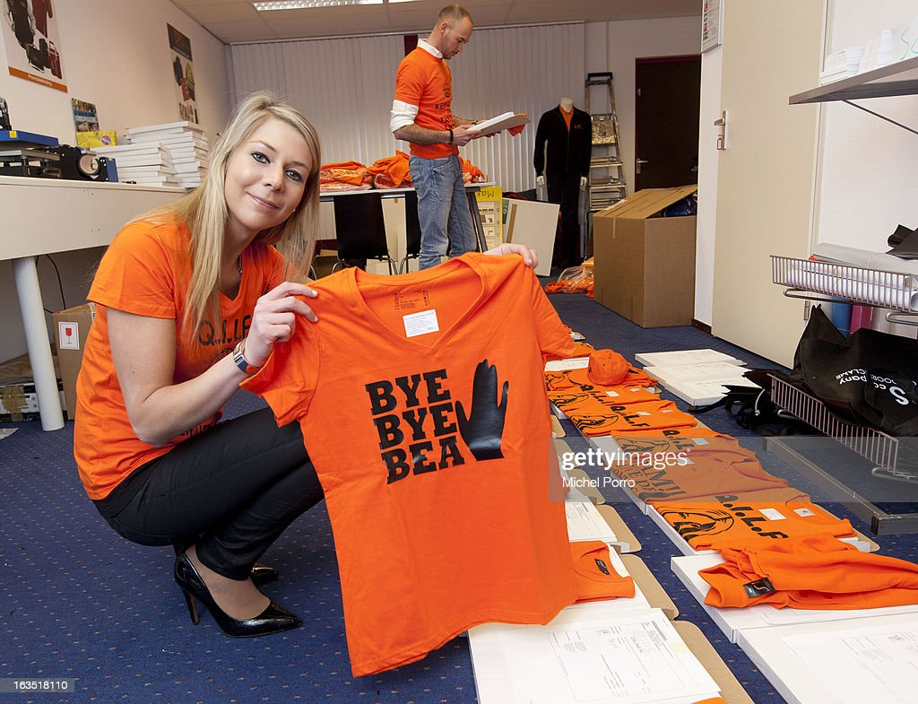 Stephanie van Oosterbosch wears a t-shirt with a salute to Queen Beatrix of The Netherlands designed by DPS Company on March 11, 2013 in Roosendaal, Netherlands.The shirts are for sale in preparation of the upcoming 30 April coronation of Crown Prince Willem Alexander of The Netherlands.