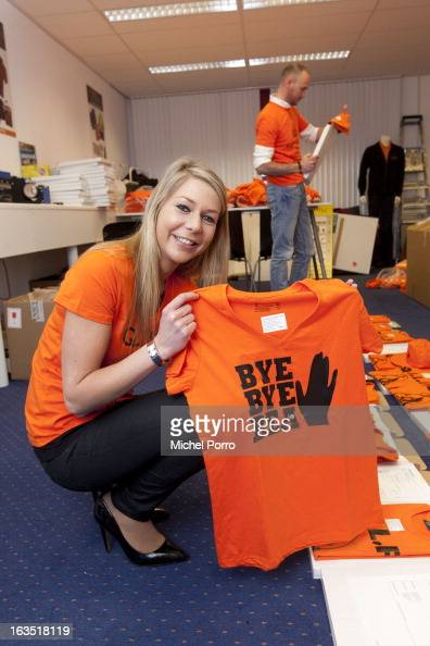 Stephanie van Oosterbosch wears a tshirt with a salute to Queen Beatrix of The Netherlands designed by DPS Company on March 11 2013 in Roosendaal...