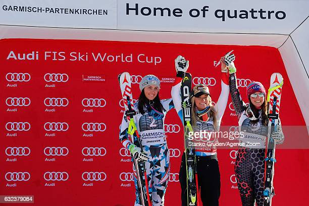 Stephanie Venier of Austria takes 2nd place Lara Gut of Switzerland takes 1st place Tina Weirather of Liechtenstein takes 3rd place during the Audi...