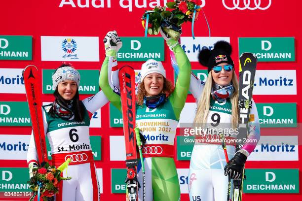 Stephanie Venier of Austria wins the silver medal Ilka Stuhec of Slovenia wins the gold medal Lindsey Vonn of USA wins the bronze medal during the...