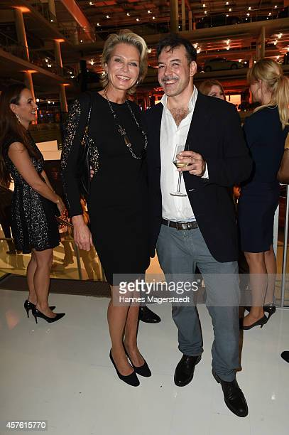 Stephanie von Pfuel and artist Juan Saliquet attend the Vernissage 'Frauenbilder in der zeitgenoessischen Fotografie' at MERCEDES BENZ on October 21...