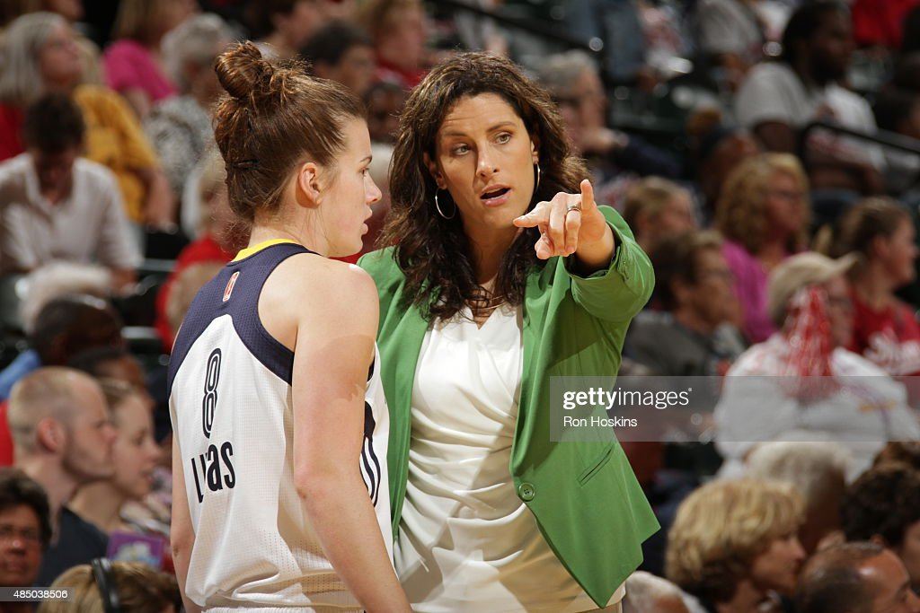<a gi-track='captionPersonalityLinkClicked' href=/galleries/search?phrase=Stephanie+White+-+Basketball+Player&family=editorial&specificpeople=225118 ng-click='$event.stopPropagation()'>Stephanie White</a> of the Indiana Fever talks to <a gi-track='captionPersonalityLinkClicked' href=/galleries/search?phrase=Maggie+Lucas&family=editorial&specificpeople=7449966 ng-click='$event.stopPropagation()'>Maggie Lucas</a> #8 during a game against the New York Liberty on August 23, 2015 in Indianapolis, Indiana.