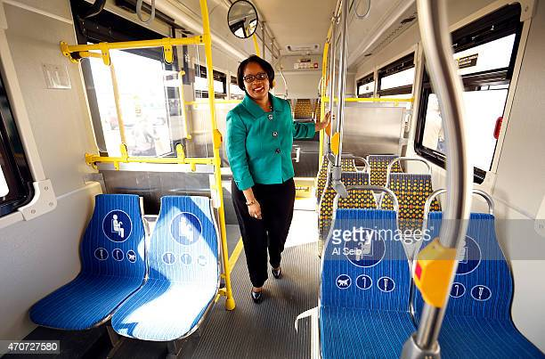LOS ANGELES CA APRIL 22 2015 Stephanie Wiggins Interim Deputy Chief Executive Officer for Metro looks at the interior of Metro's first zeroemission...