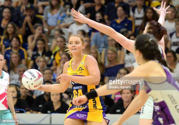 Stephanie Wood of the Lightning looks to pass during the round seven Super Netball match between the Lightning and the Firebirds at University of the...