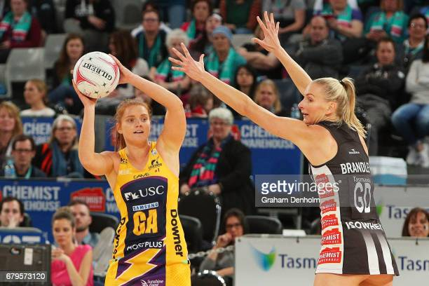 Stephanie Wood of the Lightning passes during the round 11 Super Netball match between the Magpies and the Lightning at Hisense Arena on May 6 2017...