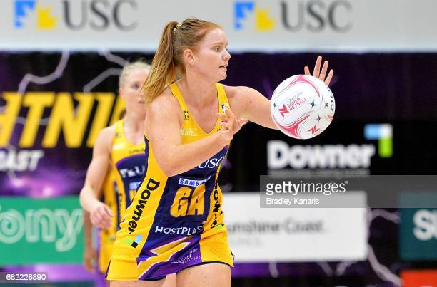 Stephanie Wood of the Lightning passes the ball during the round 12 Super Netball match between the Lightning and the Fever at University of the...