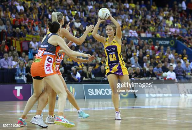 Stephanie Wood of the Lightning passes the ball during the Super Netball Grand Final match between the Lightning and the Giants at the Brisbane...