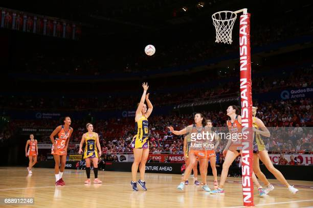 Stephanie Wood of the Lightning shoots during the round 14 Super Netball match between the Giants and the Lightning at Qudos Bank Arena on May 27...