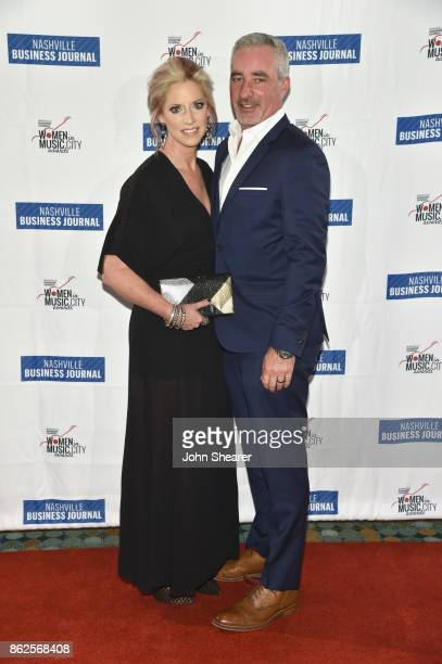 Stephanie Wright of UMG Nashville and guest arrive at the 2017 Nashville Business Journal Women In Music City on October 17 2017 in Nashville...