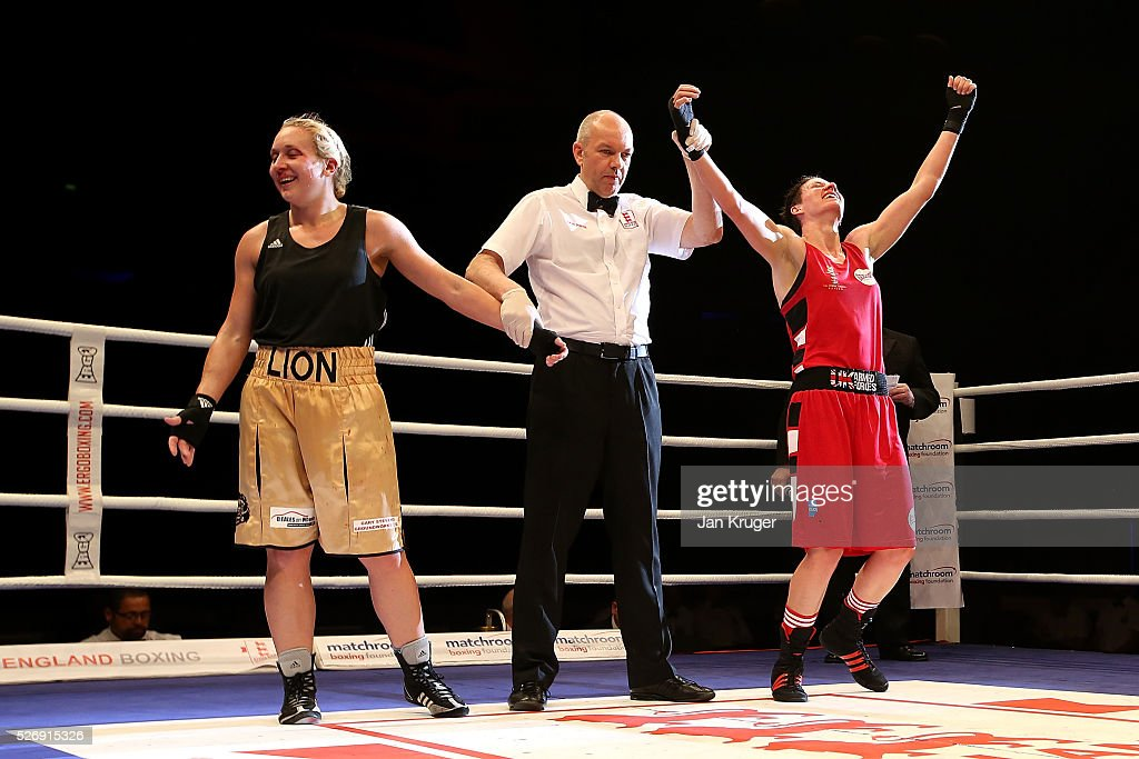 Stephanie Wroe(R) celebrates the win over Laura Stevens in their over 69kg final bout during day three of the Boxing Elite National Championships at Echo Arena on May 01, 2016 in Liverpool, England.