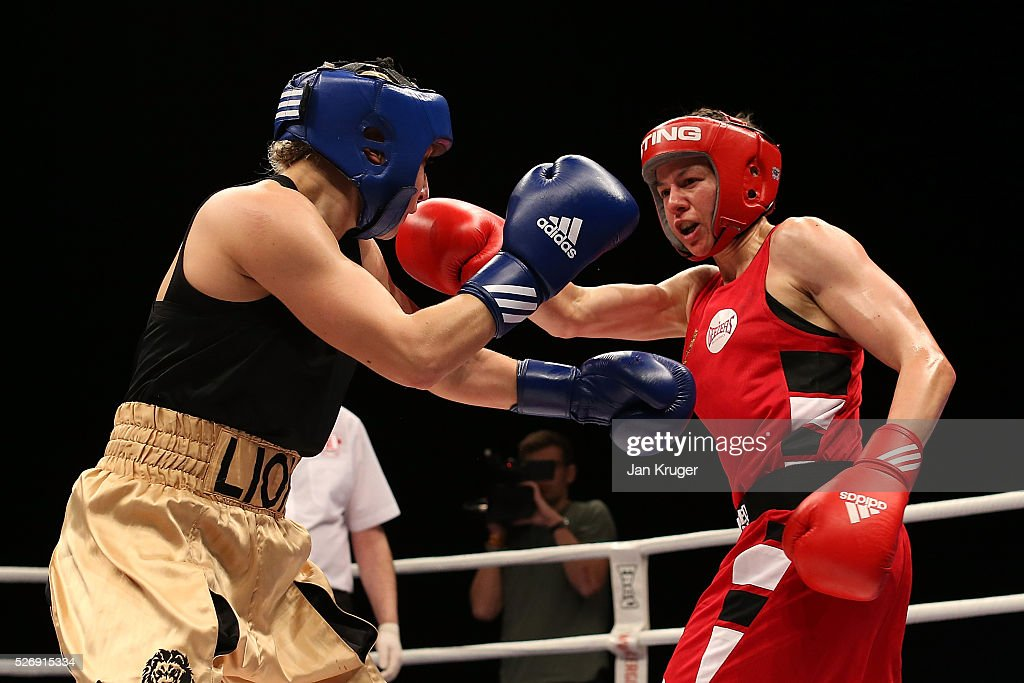 Stephanie Wroe(red gloves) in action against Laura Stevens in their over 69kg final bout during day three of the Boxing Elite National Championships at Echo Arena on May 01, 2016 in Liverpool, England.