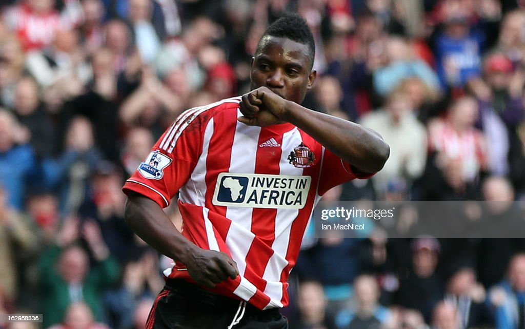 Stephanne Sessegnon of Sunderland celebrates his goal during the Barclays Premier League match between Sunderland and Fulham at the Stadium of Light on March 02, 2013 in Sunderland, England.