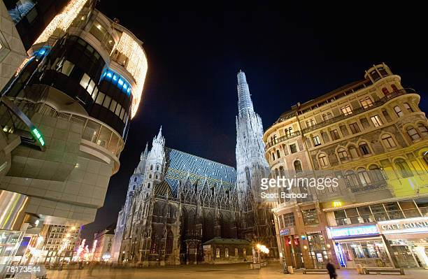 Stephansdom and Haas Haus in Stephansplatz are lit up at night on November 30 2007 in Vienna Austria