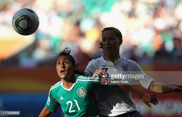 Stephany Mayor of Mexico and Rachel Unitt of England battle for the ball during the FIFA Women's World Cup 2011 Group B match between Mexico and...