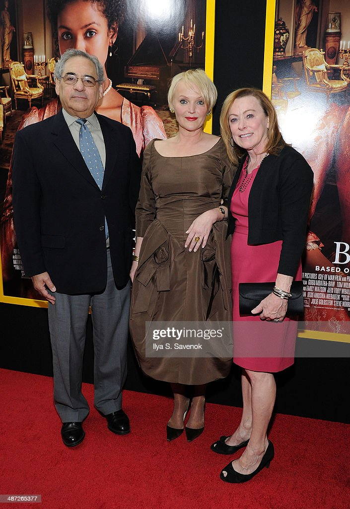 Stephen A. Gilula (Co-Pres. Fox Searchlight), Miranda Richardson, and Nancy Utley (Co-Pres. Fox Searchlight) attend the 'Belle' premiere at The Paris Theatre on April 28, 2014 in New York City.