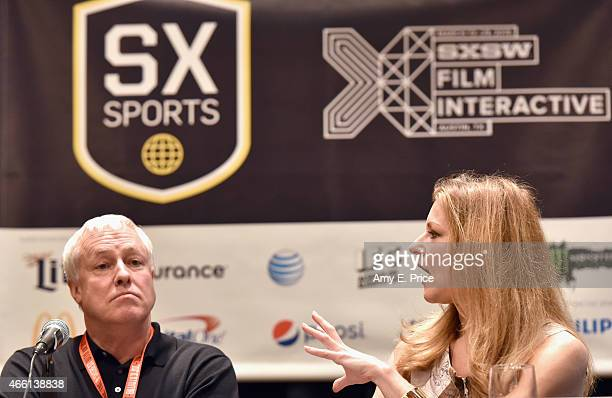 Stephen A Smith and Bonnie Bernstein speak onstage at 'The Evolution of Audio in the 21st Century' during the 2015 SXSW Music Film Interactive...