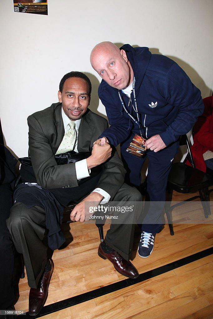 <a gi-track='captionPersonalityLinkClicked' href=/galleries/search?phrase=Stephen+A.+Smith&family=editorial&specificpeople=803159 ng-click='$event.stopPropagation()'>Stephen A. Smith</a> and Steve Lobel attend the 2012 High School Basketball Showcase at Bedford Academy on November 24, 2012 in the Brooklyn borough of New York City.