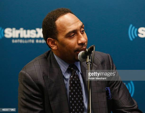 Stephen A Smith attends SiriusXM's 'Town Hall' With Clyde Drexler Isiah Thomas Dominique Wilkins and Stephen A Smith at SiriusXM Studio on February...