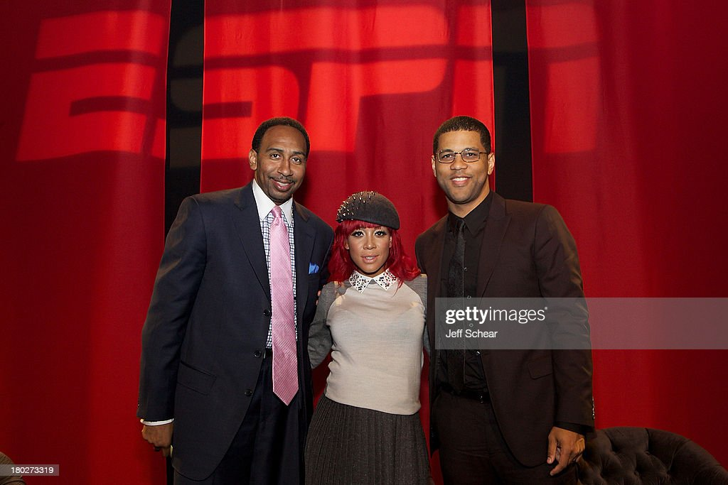 <a gi-track='captionPersonalityLinkClicked' href=/galleries/search?phrase=Stephen+A.+Smith&family=editorial&specificpeople=803159 ng-click='$event.stopPropagation()'>Stephen A. Smith</a>, Calyann Barnett and Michael Smith attend ESPN Fashion Week - Revenge of the Jocks at The Box at Lincoln Center on September 10, 2013 in New York City.