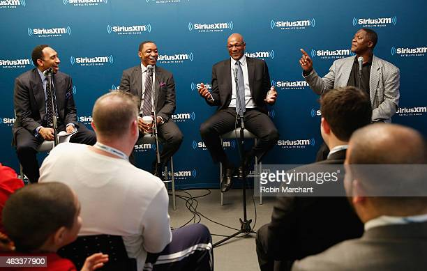 Stephen A Smith Isiah Thomas Clyde Drexler and Dominique Wilkins attend SiriusXM's 'Town Hall' With Clyde Drexler Isiah Thomas Dominique Wilkins and...