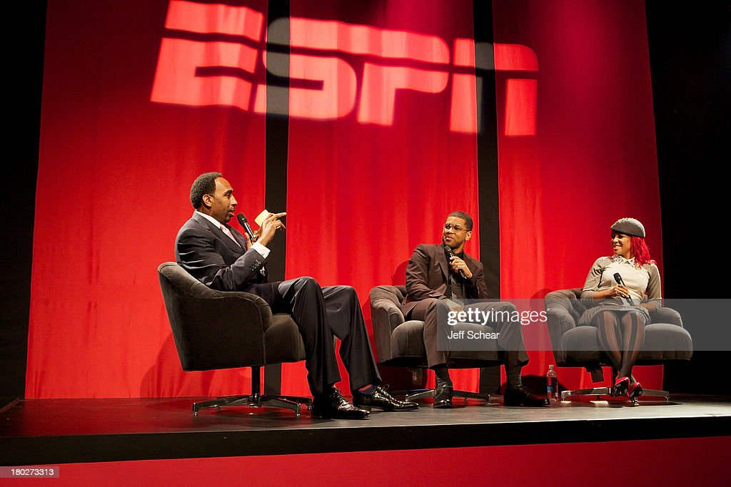 Stephen A. Smith, Michael Smith and Calyann Barnett attend ESPN Fashion Week - Revenge of the Jocks at The Box at Lincoln Center on September 10, 2013 in New York City.