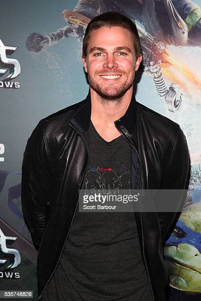 Stephen Amell attends the Teenage Mutant Ninja Turtles Out of the Shadows fan screening at Village Cinemas Jam Factory on May 30 2016 in Melbourne...