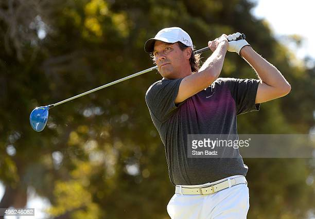 Stephen Ames hits a drive on the third hole during the second round of the Champions Tour Toshiba Classic at Newport Beach Country Club on October 31...