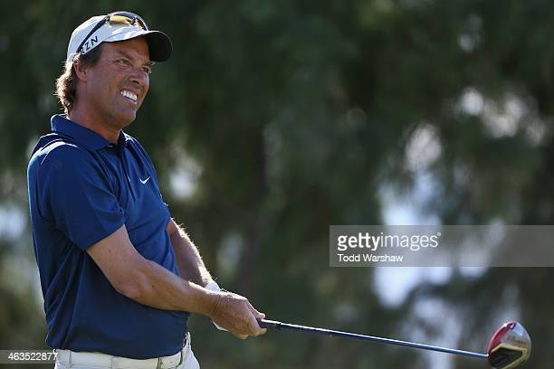 Stephen Ames hits a tee shot on the sixteenth hole during the third round of the Humana Challenge in partnership with the Clinton Foundation on the...
