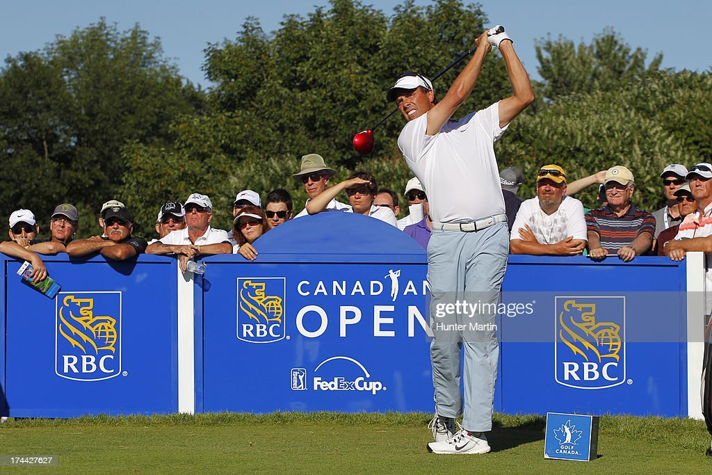 <a gi-track='captionPersonalityLinkClicked' href=/galleries/search?phrase=Stephen+Ames+-+Golfer&family=editorial&specificpeople=213196 ng-click='$event.stopPropagation()'>Stephen Ames</a> hits his tee shot on the 17th hole during round one of the RBC Canadian Open at Glen Abby Golf Club on July 25, 2013 in Oakville, Ontario.