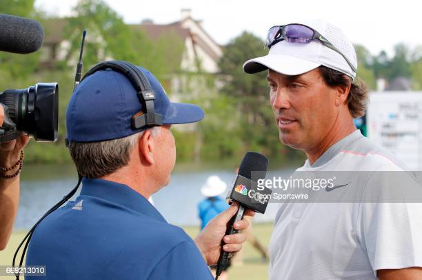 Stephen Ames is interviewed by the Golf Channel after winning the 2017 Mitsubishi Electric Classic golf tournament at the TPC Sugarloaf Golf Club...