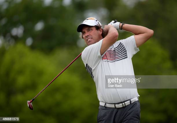 Stephen Ames of Canada hits a drive on the eighth hole during the second round of the Zurich Classic of New Orleans at TPC Louisiana on April 25 2014...