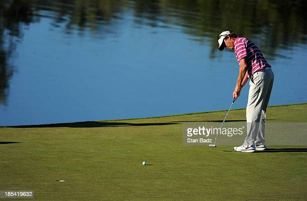 Stephen Ames of Canada hits a putt on the 17th hole during the third round of the Shriners Hospitals for Children Open at TPC Summerlin on October 19...