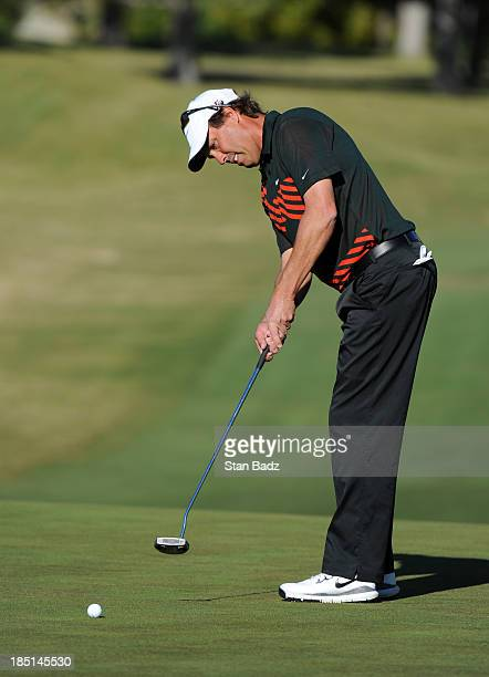 Stephen Ames of Canada hits a putt on the first hole during the first round of the Shriners Hospitals for Children Open at TPC Summerlin on October...