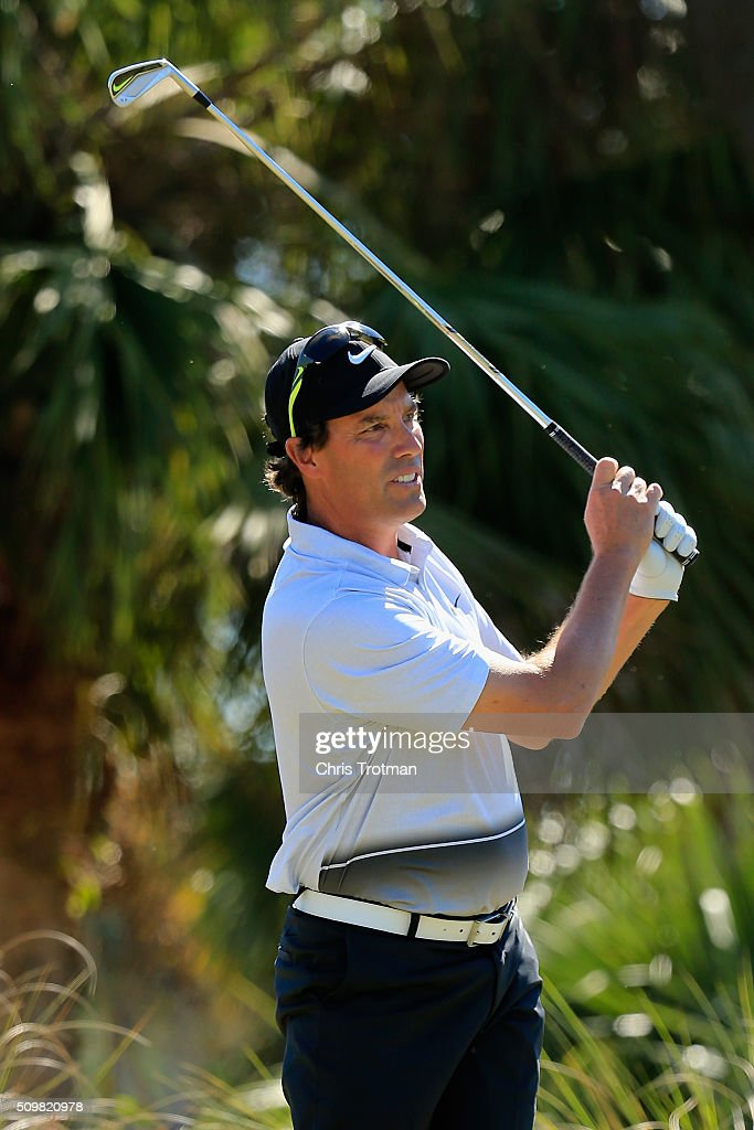 Stephen Ames of Canada hits a tee shot on second hole during the first round of the 2016 Chubb Classic at the TwinEagles Club on February 12, 2016 in Naples, Florida.