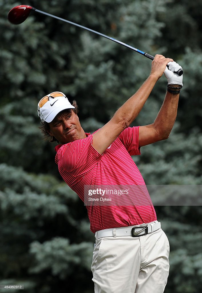 Stephen Ames of Canada hits his drive on the fourth hole during the first round of the Shaw Charity Classic on August 29, 2014 in Calgary, Canada.