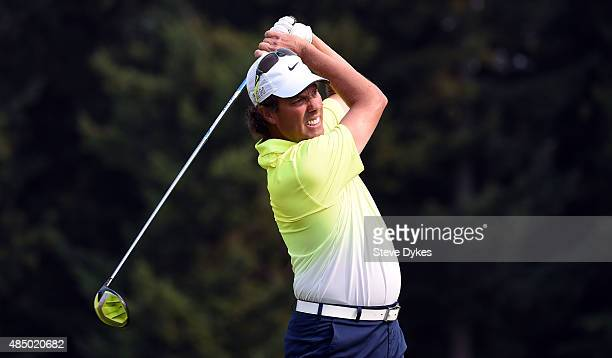 Stephen Ames of Canada hits his tee shot on the eighth hole during the final round of the Boeing Classic on August 23 2015 in Snoqualmie Washington