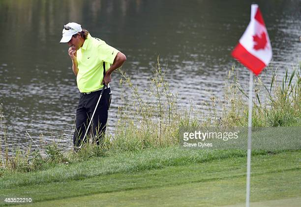 Stephen Ames of Canada looks at the location of his ball near the the 18th green during the final round of the Shaw Charity Classic at the Canyon...