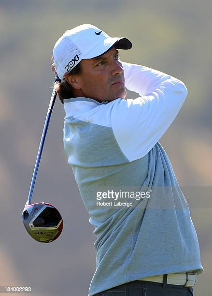 Stephen Ames of Canada makes a tee shot on the second hole during round one of the Fryscom Open at the CordeValle Golf Club on October 10 2013 in San...
