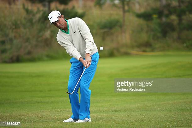 Stephen Ames of Canada plays a chip shot during the first round of the 141st Open Championship at Royal Lytham St Annes Golf Club on July 19 2012 in...
