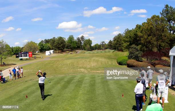 Stephen Ames tees off hole during the second round of the Mitsubishi Electric Classic tournament at the TPC Sugarloaf Golf Club Saturday April 15 in...