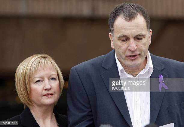 Stephen and Melanie Jones parents of murdered Rhys Jones speak outside Liverpool Crown Court in Liverpool northwest England on December 16 2008 An...