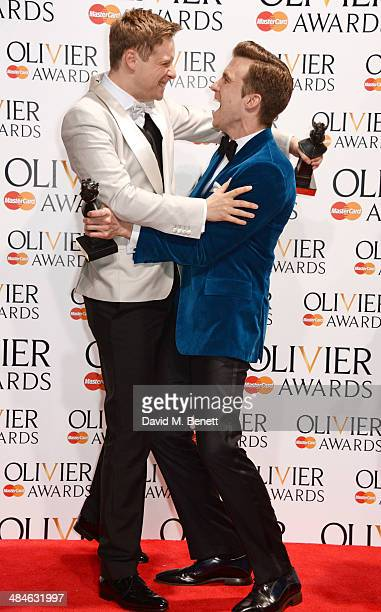 Stephen Ashfield winner of Best Performance in a Supporting Role in a Musical for 'The Book Of Mormon' and Gavin Creel winner of Best Actor in a...