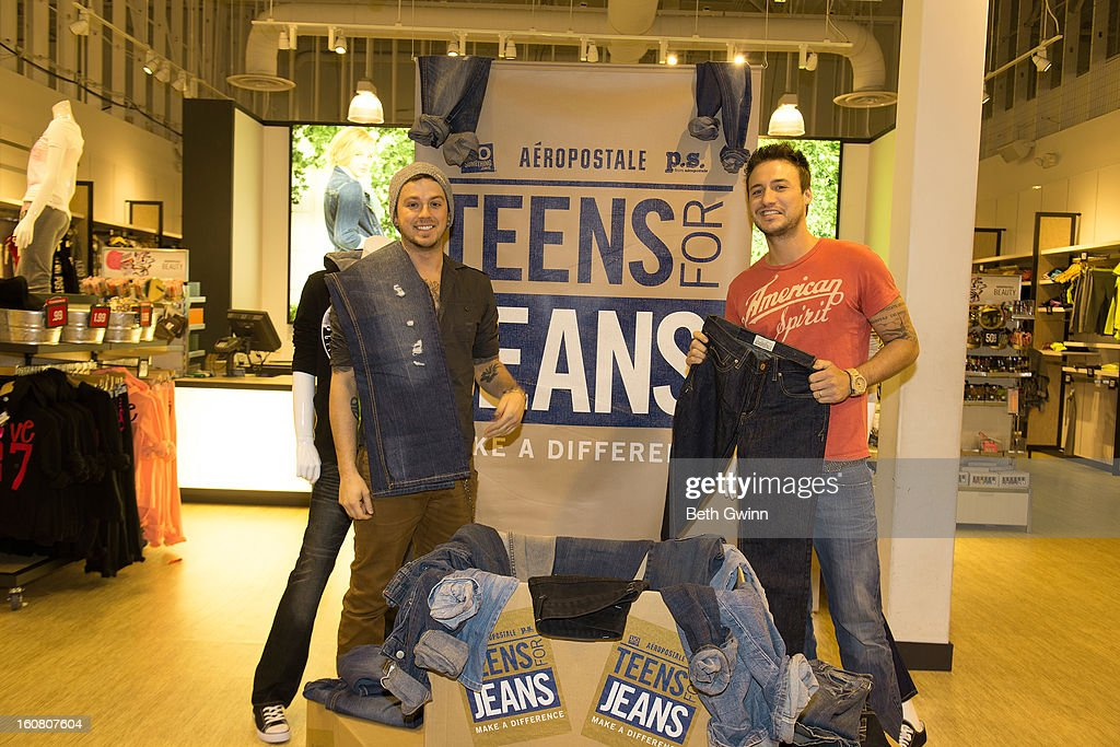 Stephen Baker Liles and Eric Gunderson of ACM nominated duo Love and Theft supports DoSomething.org and Aeropostale's '6th Annual Teens for Jeans' campaign on February 5, 2013 in Nashville, Tennessee.