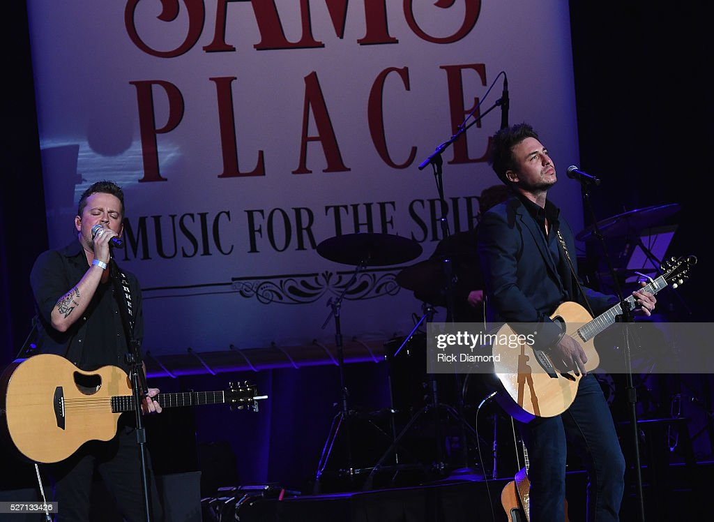 Stephen Baker Liles and Eric Gunderson (Love and Theft) perform during Sam's Place - Music For The Spirit - May 1, 2016 at Ryman Auditorium in Nashville, Tennessee.