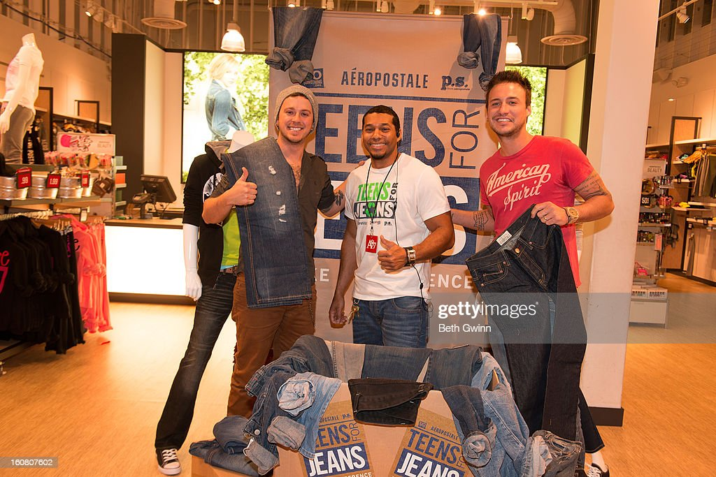 Stephen Baker Liles, James Harris (Store Manager), and Eric Gunderson of ACM nominated duo Love and Theft supports DoSomething.org and Aeropostale's '6th Annual Teens for Jeans' campaign on February 5, 2013 in Nashville, Tennessee.
