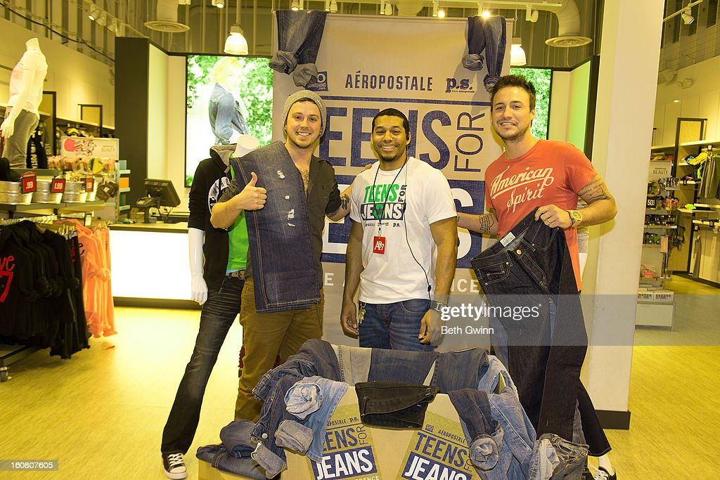 Stephen Baker Liles, James Harris (Store Manager), and Eric Gunderson ofACM nominated duo Love and Theft supports DoSomething.org and Aeropostale's '6th Annual Teens for Jeans' campaign on February 5, 2013 in Nashville, Tennessee.
